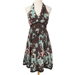GADO GADO Brown Floral Embellish Tea Length Dress